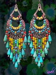 handmade chandelier earrings beaded turquoise and silver chandelier earrings large