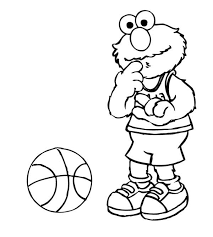 elmo playing basketball sesame street coloring color luna