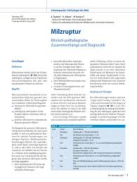G Stige K Hen Mit Aufbau Milzruptur Klinisch Pathologische Zusammenhänge Und Diagnostik