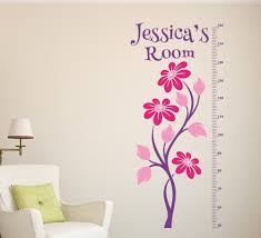 space ship rocket height chart sticker personalised flower height chart wall sticker personalised