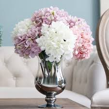 hydrangea arrangements decor hydrangea arrangements in chrome vase with coffee table and