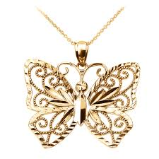 butterfly pendant necklace gold images Yellow gold butterfly pendant necklace jpg