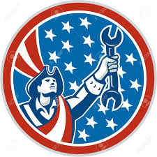 Blue Flag Stars In Circle Illustration Of An American Mechanic Patriot Holding Wrench