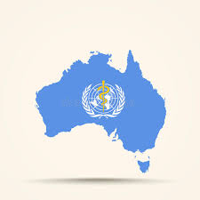flag of the world health organization map of australia in world health organization flag colors stock
