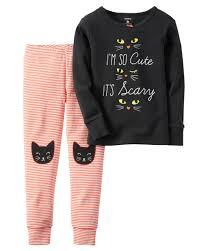 Halloween T Shirts Plus Size 2 Piece Snug Fit Cotton Halloween Pjs Sugar Glitter Pjs And