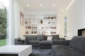 grey living room furniture modern style glass walls white shade