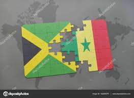 Colors Of Jamaican Flag Puzzle With The National Flag Of Jamaica And Senegal On A World