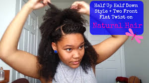 braids in front hair in back half up half down ponytail with two front flat twist tutorial on
