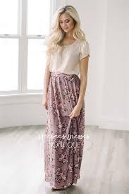 Dusty Purple Purple Mauve Floral Maxi Modest Skirt For Church Modest