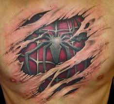 spider 3d chest designs for tattoos