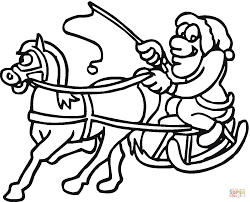 horse pulling santa in sleigh coloring page free printable
