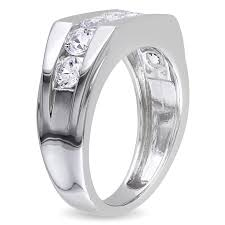 wedding band ring miadora sterling silver channel set created white sapphire men s