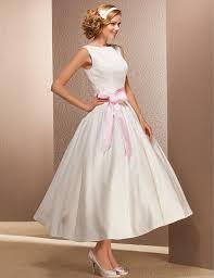 vintage short ivory satin wedding dresses boat neck tea length