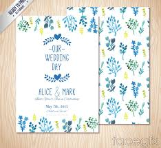 wedding invitations vector free blue watercolor floral wedding invitation card