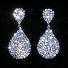 silver dangle earrings for prom rhinestone encrusted dangle earrings prom pageant new ebay