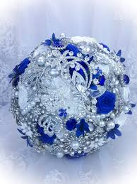 luxurious pure white royal blue brooch bouquet full price