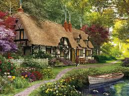 houses thatched cottage painting tudor architecture scenery art