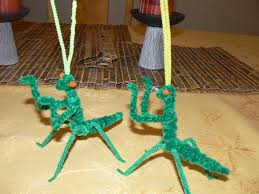 praying mantises made from pipe cleaners for our insect unit