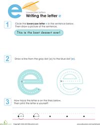 writing the letter e worksheet education com