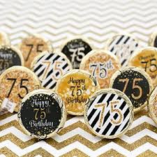 Favors For 75th Birthday by Black And Gold 75th Birthday Favor Stickers 324