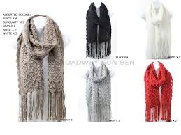 Trellis Scarf Wholesale Winter Knit Diamond Oblong Scarf With Fringe