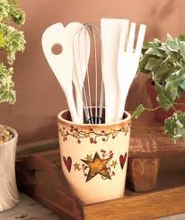 hearts and kitchen collection country primitive berry utensil crock holder organizer