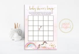 Baby Shower Printable Bingo Unicorn Baby Shower Bingo Unicorn Baby Shower Unicorn Party