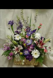 basket of flowers garden funeral basket sympathy flowers delivered in houston tx