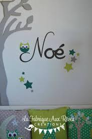 hibou chambre bébé stickers prénom garçon hibou étoiles chocolat anis vert décoration
