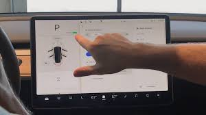 tesla model 3 touchscreen control panel detailed on video