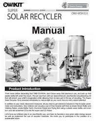 super solar recycler manual owi inc dba robotikits direct