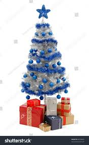 artificial silver christmas tree isolated on stock photo 66758623