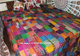 cor s king size patola silk patch work kantha quilt