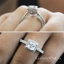 gabriel and co engagement rings milan 14k white gold princess cut halo engagement ring