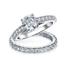 engagement jewelry sets bridal cz solitaire engagement wedding ring set
