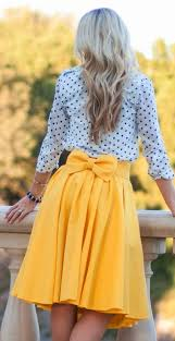 yellow plain bowknot pleated below knee sweet midi skirt skirts
