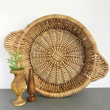 wicker basket with leather handles vintage woven rattan wicker round basket wall hanging basket