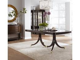 thomasville studio 455 bunching curio cabinet dunk bright shown with double pedestal dining table credenza and mirror
