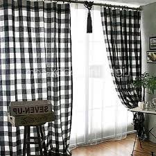 Black Check Curtains Classic Black And White Check Window Curtains Two Panels Jvm