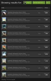 last year s summer winter sale trading cards price history steam