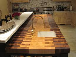 chic ombre brown color butchers block countertop mixed with long chic ombre brown color butchers block countertop mixed with long white stone bar