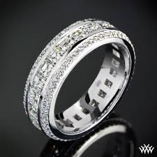 mens diamond wedding band cast in 18k white gold this stunning custom diamond wedding ring