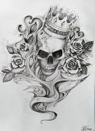 roses and crown skull tattoo design