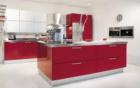 red kitchen design white wooden laminate bar top brown ceramic