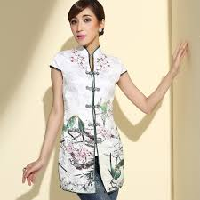 shirts and blouses attractive blossom flowers cheongsam style blouse shirts