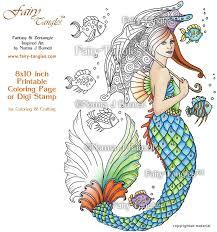 mermaid takes stroll fairy tangles printable coloring book