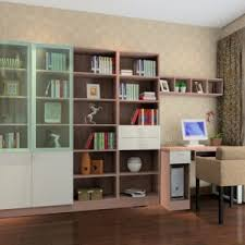 cozy interior design ideas for study room with brown sleek wooden