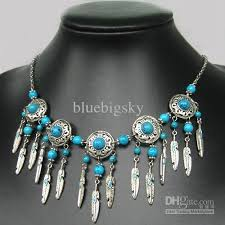 turquoise necklace silver chain images 2018 new in tibet style tibetan silver turquoise beads feather jpg