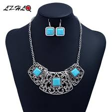 vintage blue stone necklace images Geometric blue stone necklace set vintage resales plus jpg