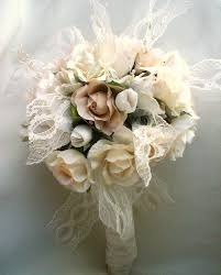 vintage bouquet vintage bouquet shabby chic wedding ivory lace pearls ready ship